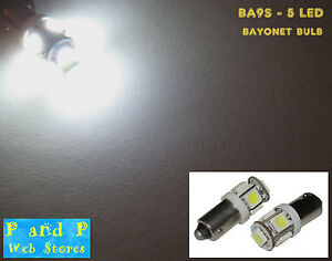 2x-BA9S-bayonet-LED-bulb-5-white-bright-LED-5x5050-chip