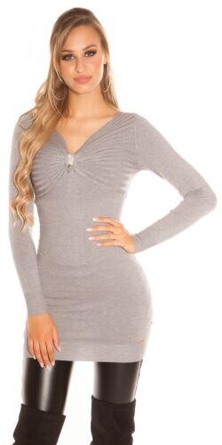 KouCla Minikleid Pulli Longpullover Pullover Sweater Strass Brosche
