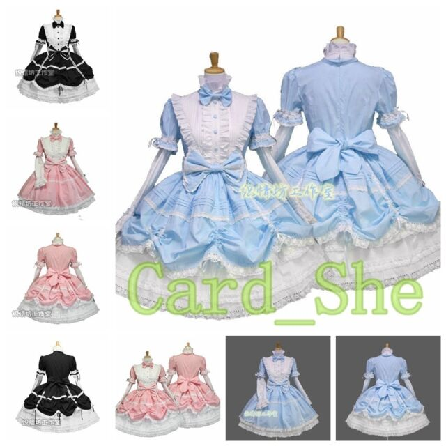 Womens Anime Cosplay Maid Costume Lolita Waitress Uniform Princess Dresses Wear