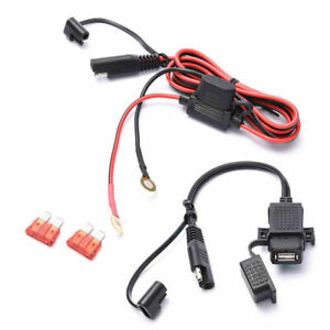 Motorcycle Phone Charger Universal Motorcycle SAE to Dual USB Waterproof Phone GPS Charger Kit Cable Adapter Inline Fuse