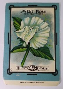 Details About Sweet Peas Spencer White Burt S Antique Seed Packet Kitchen Decor