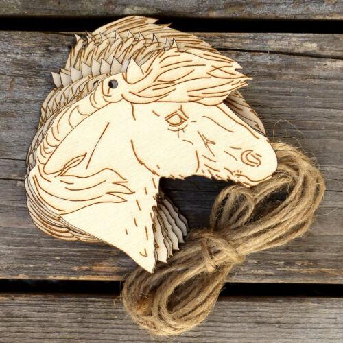10x Wooden Shetland Pony Horse Head Craft Shapes 3mm Plywood