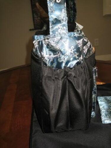 Asian Brocade Kecci Voyager Steel  Blue Black Diaper bag 3pc Set Messenger Baby