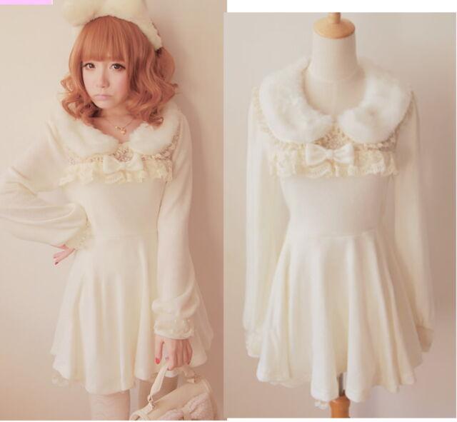 Princess Dolly Lolita Kawaii Party Wedding Faux Fur Collar BOW Dress White M~L