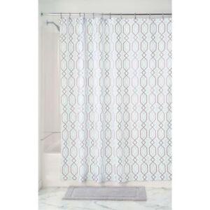 InterDesign Lattice Soft Fabric Shower Curtain 72 X Mint Gray