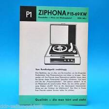 Ziphona P 15-69 KW Phonokoffer Mono DDR 1966   Prospekt Werbung DEWAG P1