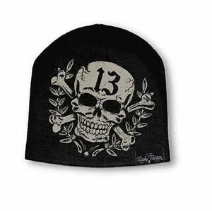 Image is loading Authentic-Lucky-13-Triumph-Printed-Beanie-Biker-Motorcycle- a3e241412ba