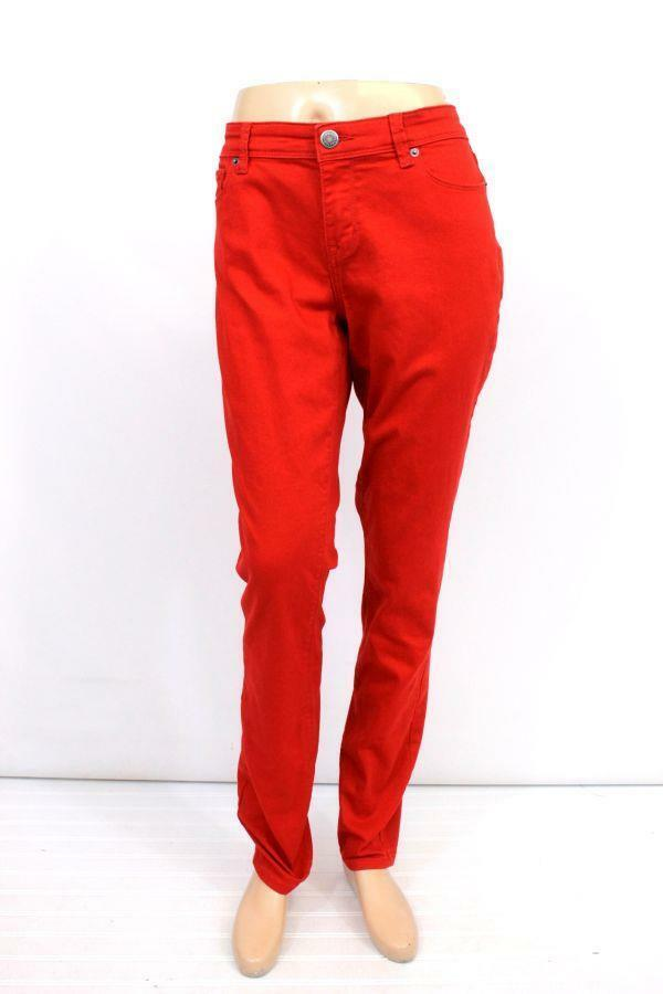 Womens bright red THE LIMITED skinny leg denim jeans pants cotton modern L 14