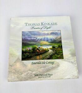 Thomas-Kinkade-Oversized-500-Piece-Emerald-Isle-Cottage-27-034-x-20-034-Sealed-Puzzle