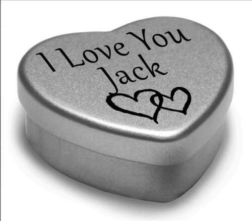 Je vous aime Jack Mini Coeur tin cadeau pour I Heart jack avec chocolats ou monnaies