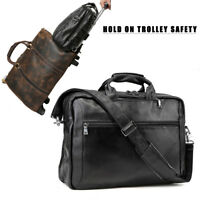 """Leather Backpack 17"""" Laptop Briefcase Messenger School Bag Travel Luggage Tote"""