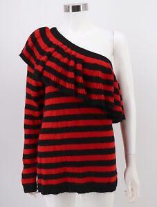 Aqua-NWT-Womens-Sweater-Red-Black-Striped-One-Shoulder-Ruffle-Flounce-Medium
