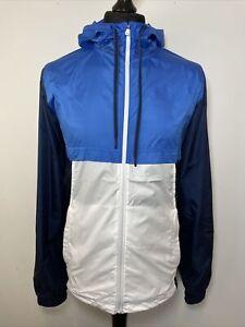 Under Armour Blue HeatGear Windbreaker Lightweight Zip Hooded Mens Jacket M NEW