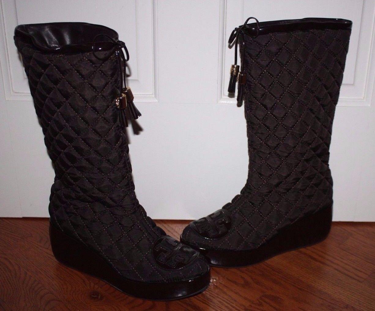 Rare Womens $395 Tory Burch Gigi Brown Wedge Platform Boots Size 9
