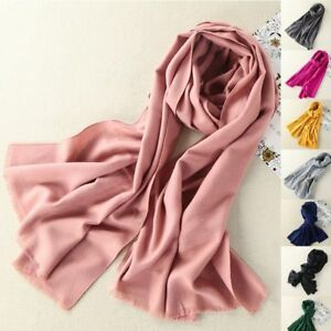 Womens Ladies Large Winter Warm soft Cashmere Solid Long Pashmina Shawl Scarf