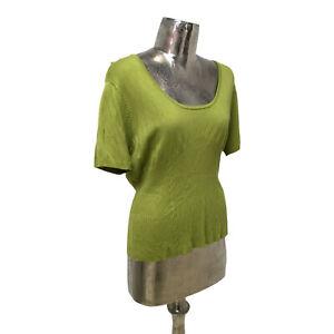 Marble Top T-Shirt Scoop Neck Green UK L 16 (EU44) NEW Women's RRP £39