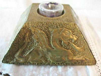 Antique Early 1900's 1920's Ornate Decorated Dragon Motif Inkwell Ink well Brass