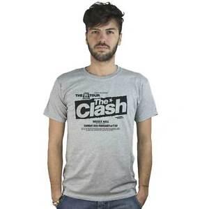 T-Shirt-Clash-Poster-Rock-maglietta-grigia-immagine-Vintage-Locandina-Concerto