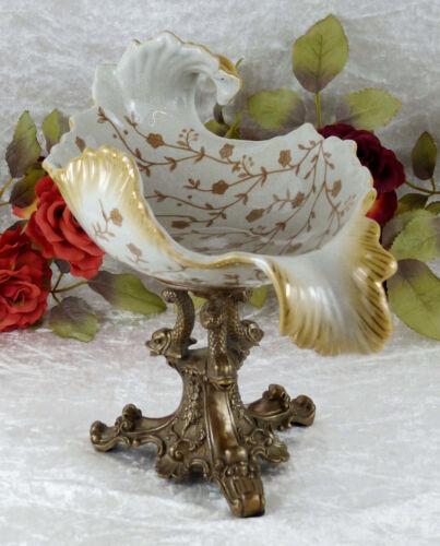 Schale Porzellan Bronze Prunkschale Jugendstil Obstschale Gebäckschale Deko Neu
