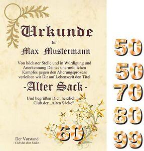 Urkunde Alter Sack Club Der Alten Sacke Karte Geburtstag 50 60 70 80