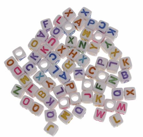 100 lettere Perle 6mm BIANCO mix di plastica lettera gioielli acrilico d111