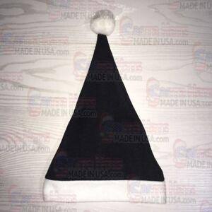 Image is loading Custom-name-Black-Santa-Hat-Fleece-Embroidered-Free 4bf9543eaf3e