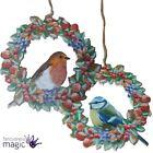Gisela Graham Robin Blue Tit Christmas Wooden Fruit Wreath Hanging Decoration