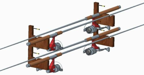 bis zu 4 Ruten Angelrutenhalter Holz Buche Angelruten Wandhalter