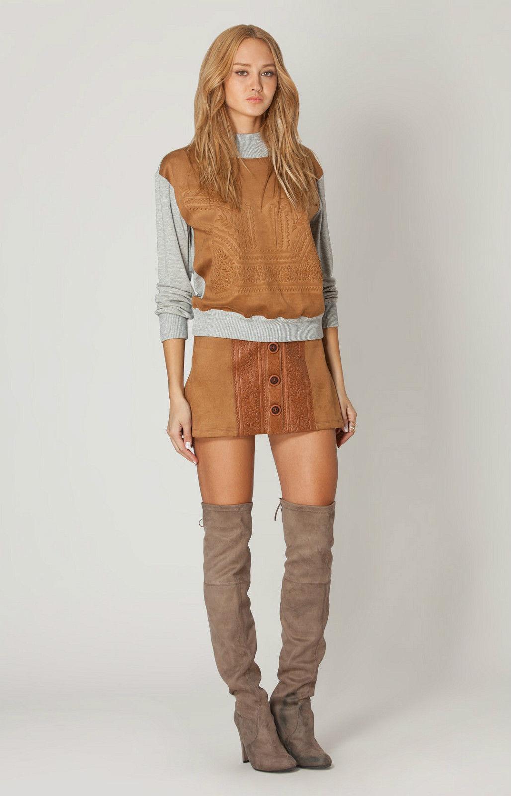 Liberty Garden Leather Embossed Sweatshirt   Long Sleeve XS NWT 5EMG7228