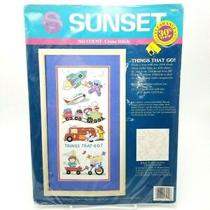 No-Count-Cross-Stitch-Kit-Space-Ship-Astronaut-Airplane-Train-Fire-Truck-13914