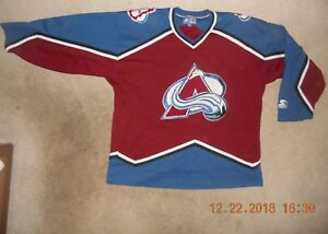 save off 6db4a 3f1f1 Details about Colorado Avalanche NHL Hockey Jersey Starter XXL Sewn Classic  Avs AWAY SWEET W@@