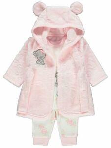 Baby Girl Tatty Teddy Dressing Dressing Gown and Pyjamas 3-piece Set 9-24 MONTHS
