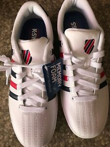 check-out New York enorme sconto Details about K•Swiss Court Pro White With Blue & Red Stripes On Side  03629-113-M Low 9.5