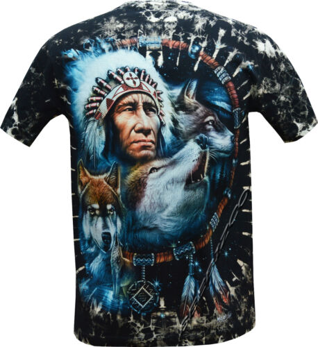 New Wolf Native American Red Indian Bike Glow In Dark Tye Dye T 3XL Shirt M