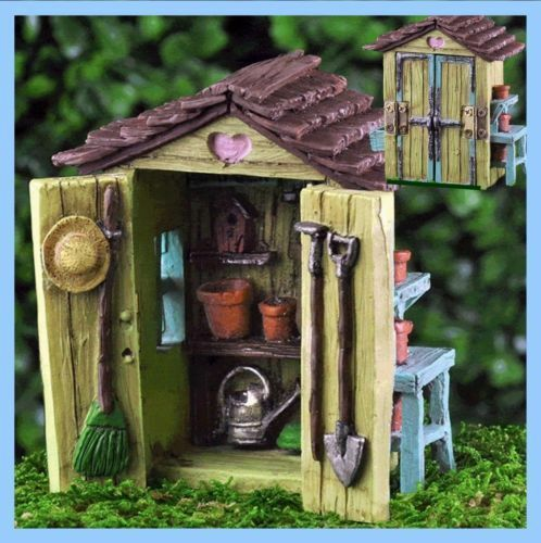 Hobbit House Shed: Miniature Fairy Garden Shed W Hinged Door Gnome Hobbit