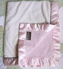 Blankets and Beyond White Plush w Pink Sherpa w Satin Edge Baby Girl Blanket VGU