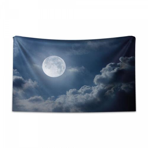 Nacht Skyline Vollmond Druck Mond Wandteppich und Tagesdecke