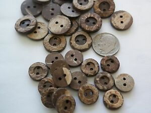 5//8,3//4  #NC lot new 10 Real Vegan Natural Coconut Shell Buttons sizes 7//16,1//2