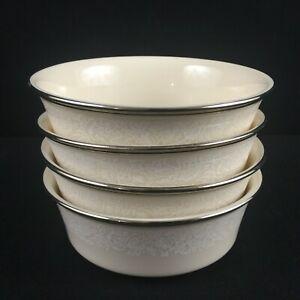 Set-of-4-VTG-Fruit-Dessert-Bowls-Lenox-Moonspun-White-Floral-Platinum-USA