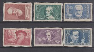 FRANCE-N-380-385-RODIN-CALLOT-BERLIOZ-PASTEUR-MNH-COTE-90-CHOMEURS