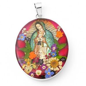 Large-Sterling-Silver-Blessed-Lady-of-Guadalupe-with-Flowers-Medallion-Pendant
