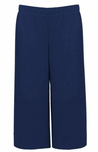 Womens Plain Cropped Wide Leg Culottes Ladies Printed Casual 3//4 Length Pants