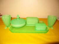 ART DECO GREEN URANIUM GLASS DRESSING TABLE SET chips&repair to one holder,