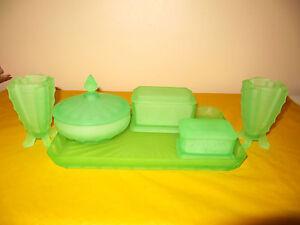 ART DECO GREEN URANIUM GLASS DRESSING TABLE SET chips&repair to one ...