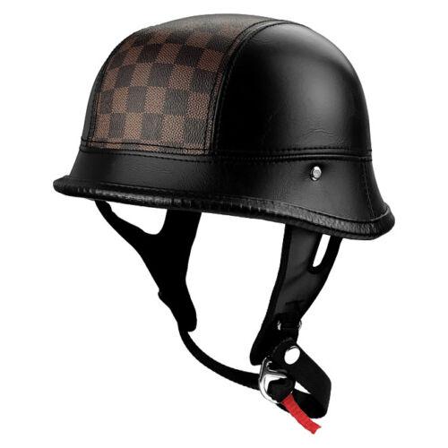 German Style Motorcycle Helmet Black Leather Helmet w// Checker Stripe