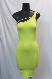 Fashion-Nova-Femmes-me-suivre-une-epaule-mini-robe-CD4-Jaune-Taille-XS-Neuf-avec-etiquettes