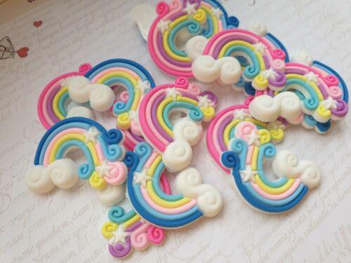 Craft Cute Rainbow Resin Flatback Cabochon Bow Accessoires Embellissement