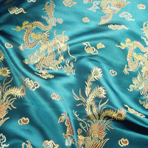 Chinese-Fabric-Dragon-Brocade-Silky-Material-Satin-Oriental-Embroidered-112cm