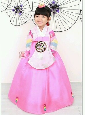 Korean Hanbok Traditional Costume Girl's Age 4 Korean Dress dolbok 2pcs -J3.
