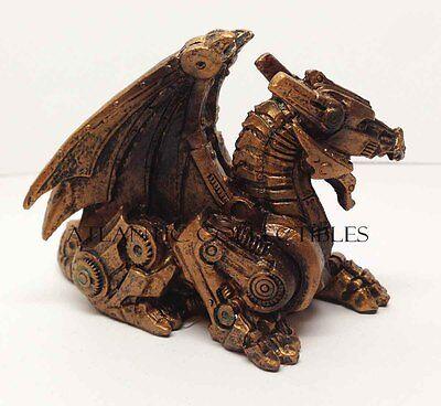 "Sleeping Steampunk Dragon Figurine Cyber Robot Flying Machine 3.5""L Figure"